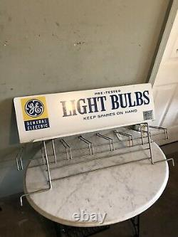 Vintage General Electric GE Light Bulb Metal Sign Display Rack Top Double Sided