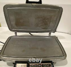Vintage General Electric GE Waffle Iron Baker Grill Chrome 24G42 RARE CLEAN