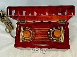 Vintage General Electric L-622 Bakelite Catalin Radio Red Tortoise