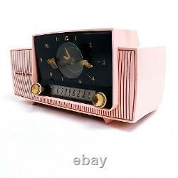 Vintage General Electric Pink Clock Tube Radio Alarm GE Mid Century Modern AM