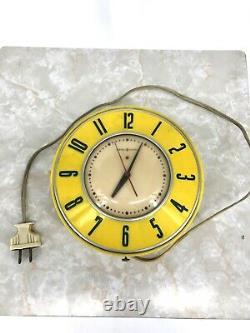 Vintage General Electric Retro Kitchen Clock Yellow Model 2H26