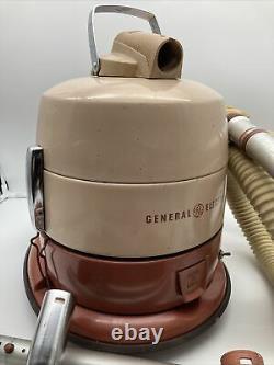 Vintage Industrial General Electric GE Swivel Top Reach Easy Canister Vacuum
