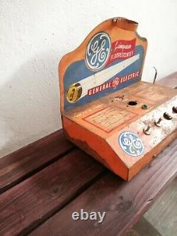 Vintage Mexican General Electric GE Fluorescent Light Bulb Tester Display 60´s