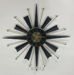 Vintage Mid-Century Modern Black / Gold Starburst General Electric Wall Clock