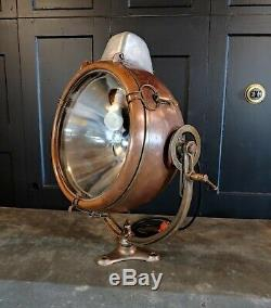 Vintage Novalux Copper Floodlight Projector with Brass Yoke by General Electric