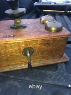 Vintage Quartersawn oak Western Electric Antique Wall Phone, Crank Generator 20
