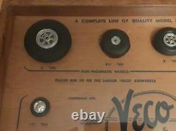 Vintage Veco Wheel Display case Model RC air plane Car Rubber Tires scale kit2 3