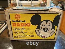 Vintage Wdp Mickey Mouse Youth Clock Radio In Rare Orig Box General Electric