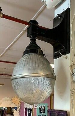Vtg Cast-Iron GE Holophane Street Light Glass Shade Industrial Acorn