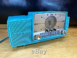 Vtg General Electric Turquoise Blue Radio 1958 Alarm Clock 50s
