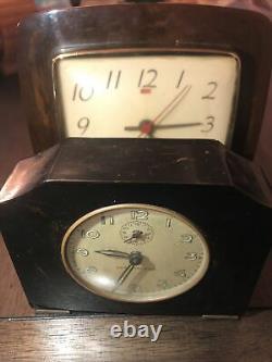 Vtg art deco Seth Thomas&General Electric brown swirl bakelite clock