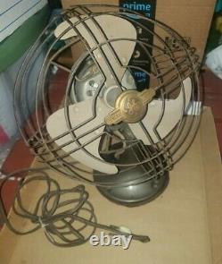 Working Vintage GE Table Top Brass/Metal General Electric Fan 12 Tall