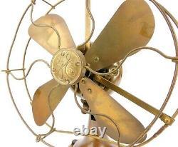1919 General Electric Ge All Brass Electric Antique 8 Lame D'éventail De Bureau Cage