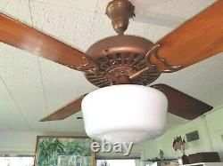 Antique 1920's Ge General Électric Ceiling Fan-rebuilt In White Brown Or Copper