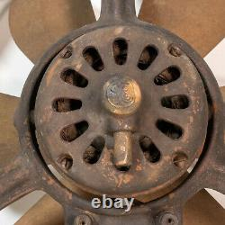 Antique 1920s Ge General Electric 16 Ventilateur De Fenêtre D'échappement De La Lame En Laiton Steampunk