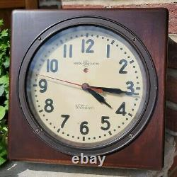 Antique Ge General Electric Telechron Horloge Murale Mohogany Frame Visage En Verre