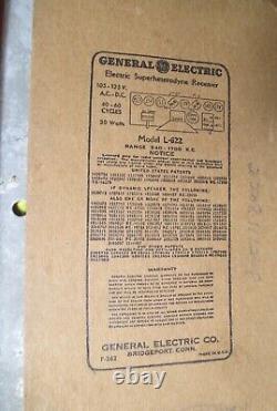 Antique General Electric Vintage Catalin Tube Modèle Radio L-622 Xmas Spécial