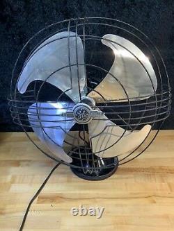Antique General Electric Vortalex Eventail En Métal Oscillant Art Deco Works USA 1930s