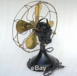 Antique Vintage 1930 Gec Brass Blades Table Fan General Electric Angleterre