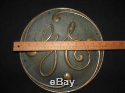 Brass General Electric Ge Vintage 1920 Emblem Plaque Nameplate 12 Diamètre