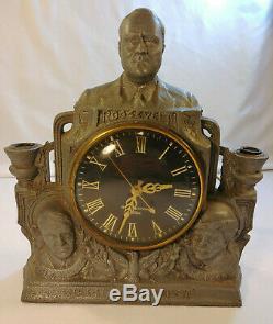 Esprit Lampe Fdr Métal Horloge Roosevelt Des Etats-unis General Electric Telechron Vintage