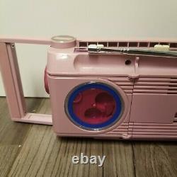 General Electric Sidestep Pink Boombox Batterie Stéréo Cassette 80's Vintage