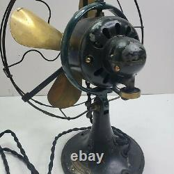 General Electric Whiz 9 Fan Ge Vintage Antique Brass Blade Fonctionne Très Bien