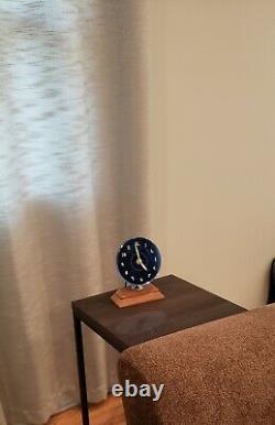 Horloge Art Déco Bleu Rond Ge Vintage Modernisme Intérieur Décor Table De Bureau # Font
