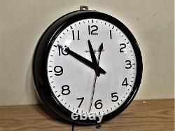 Horloge Murale De Bureau De L'école Électrique Générale Vintage Avec Red Dot 1950s Works Great