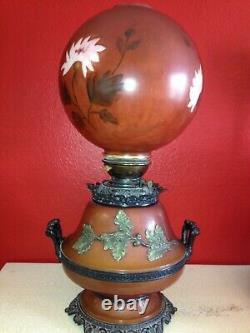Magnifique Grand Vintage Ornate Parlor Kerosene Lampe À Huile Électrique Peint Shade