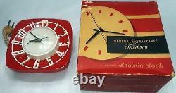 Marque Nouveau Magnifique Vintage Nos Mod Général Électrique Rouge Horloge De Cuisine En Plastique