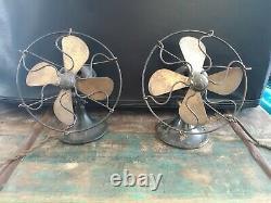 Paire Ancienne 6 Ventilateur Électrique Général Lame En Laiton Série F Vintage Ge (1924-1926)