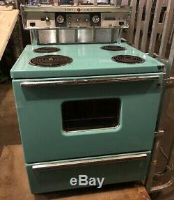Rare Vintage Bleu Électrique Cuisinière General Electric Ge Aqua Bleu