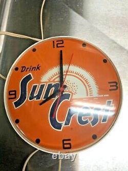 Rare Vintage General Electric Sun Crest Boisson Électrique Publicité Horloge De Travail