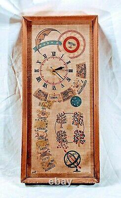 Rare Vtg À La Main General Electric Co Canvas & Wood Astrology Horloge Murale 28x13