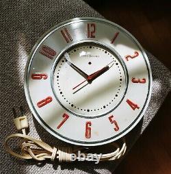 Serviced MID Century Modern Vintage Horloge Électrique Générale 2h26 Livraison Gratuite