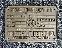 Signe En Métal Vintage/plaque Ge General Electric Synchronous Convertisseur Hcc