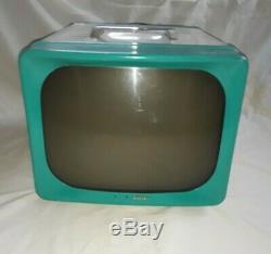 Turquoise Vintage Des Années 1950 G. E. Général Modèle Électrique 14pour Tube Tv Télévision