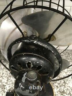 Vintage 10 Ge General Electric Oscillating Desk Fan Works! Très Lourd