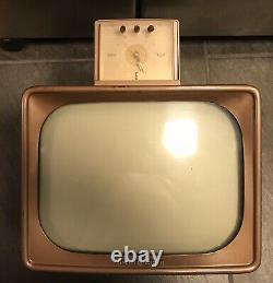 Vintage 1956 Ge General Electric Portable 12 Tv Tv Réveil Rare