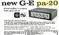 Vintage 1958 General Electric Pa-20 Tube Hi-fi Amplifier 6l6 Ge