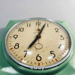 Vintage 50s MCM General Electric Teal Green Kitchen Clock Ge 2h20 Testé USA