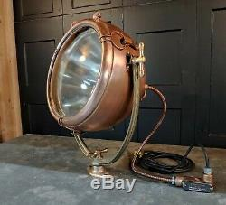 Vintage Copper Ge Novalux Projecteur Projecteur Par General Electric Restaurer