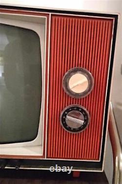 Vintage Ge 12 Black & White Télévision Orange Portable Tv General Electric 60s