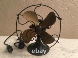 Vintage Ge 6 General Electric Fan Avec Brass Blades Series F
