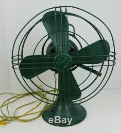 Vintage Ge Fan Vert 12 '' 75423 272618-1 3 Vitesse Oscillant General Electric