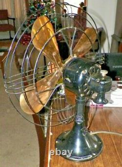 Vintage Ge General Electric 16 Fan Brass Blades Spec N0. 78x233 Fonctionne Amende