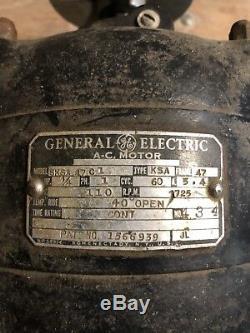 Vintage Ge General Electric Ac Modèle Moteur Type De 5ksa47c1 Ksa HP 1/4 Schenectady