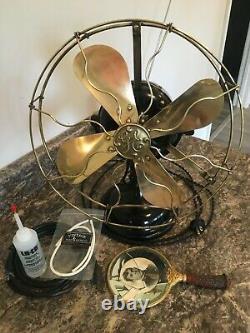 Vintage Ge General Electric Fan Laiton Lame / Cage Works Great Big Motor Yoke 1910