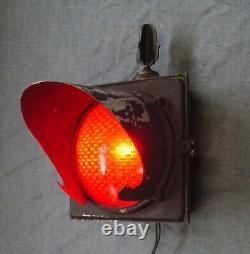 Vintage Ge Stop Signal Lumineux Lentille Rouge Unique Trafic Ferroviaire